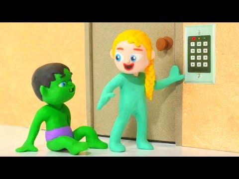 SUPERHERO BABIES OPEN SECURITY DOOR ❤ Hulk & Frozen Elsa Play Doh Cartoons For Kids