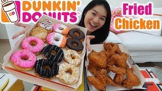 DUNKIN' DONUTS & FRIED CHICKEN • Mukbang • Eating Show