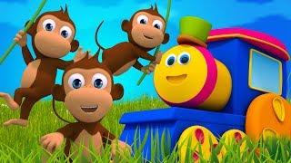 Bob el tren | cinco pequeños monos | españolas rimas para niños | mono rimas | Five Little Monkeys