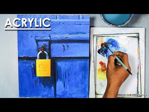 Acrylic Painting : Lock in the Door | step by step