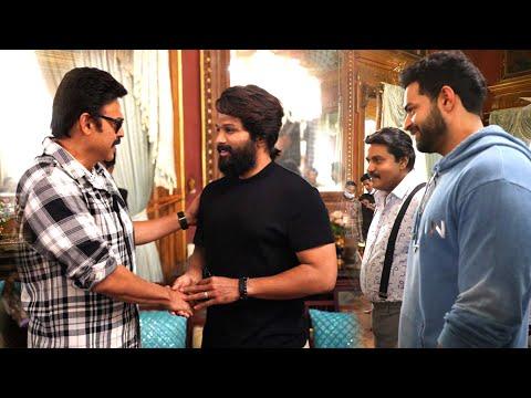 Allu Arjun visits the sets of F3 movie; interacts with Victory Venkatesh, Varun Tej, Anil Ravipudi