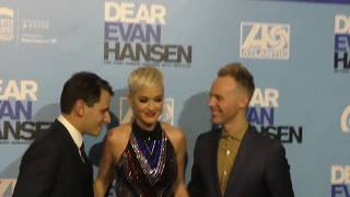 Katy Perry, Benj Pasek and Justin Paul attend the Dear Evan Hansen opening night performance at Ahma