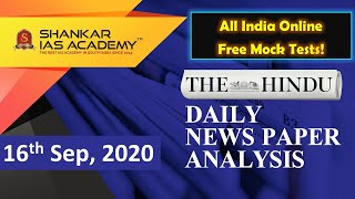 The Hindu Daily News Analysis || 16th September 2020 || UPSC Current Affairs || Prelims & Mains 2020