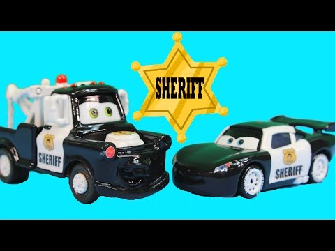Disney Pixar Cars Lightning McQueen & Mater Save the Piston Cup Join Sheriff Car Police Department