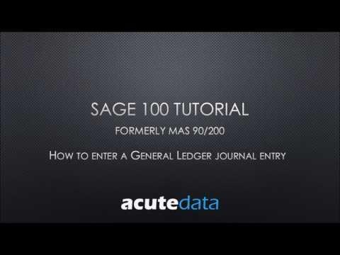 Sage 100 How to Enter a General Ledger Journal Entry