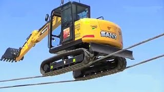 10 Extreme Dangerous Idiots Excavator Operator Skill - Fastest Deep River Crossing Excavator Driving