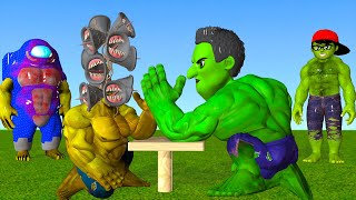 Scary Teacher 3D Siren Head vs Among Us Mods Hulk Test Game Strong Arm Champion Nick Hulk and Miss T