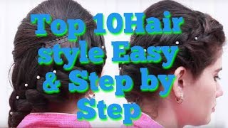 Top 10 hair style for school girl ,wedding and party easy and step by step