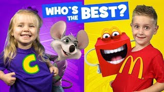 Chuck E Cheese vs McDonald's KIDS React Battle & Family Fun Review by KIDCITY