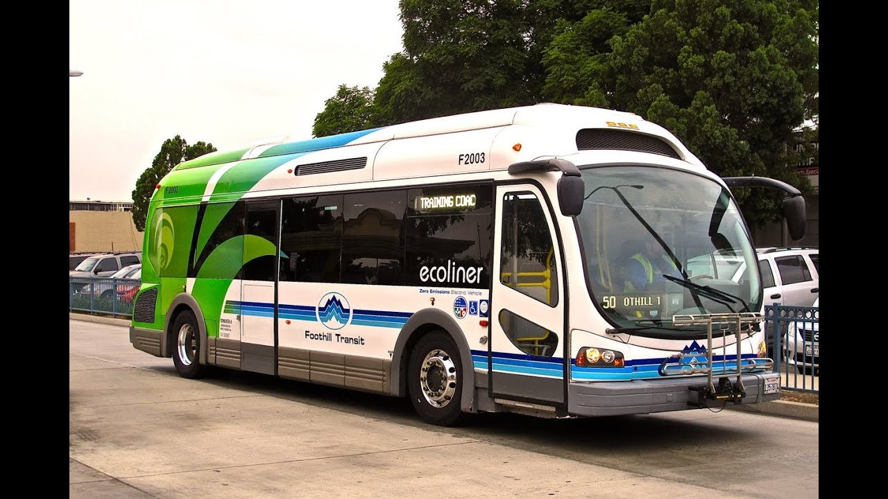 Blue Bird Bus >> Foothill Transit Ecoliner Electric Bus - YouTube