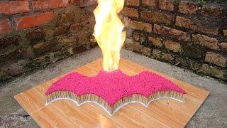 Đốt cháy 7000 que diêm hình Batman - Phản ứng dây chuyền - Domino diêm