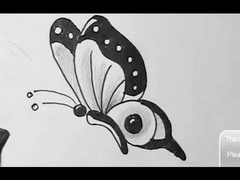 How to draw easy butterfly - YouTube