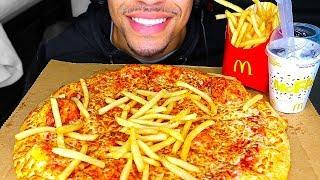 ASMR EATING CHEESE PIZZA MCDONALDS FRIES OREO MCFLURRY ICE CREAM JERRY NO TALKING MUKBANG