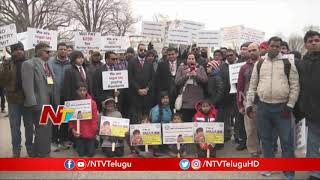 Indian H1B Visa Holders Rally Outside White House..