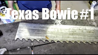 FORGING Damascus From SAW BLADE for my First Bowie Knife in TEXAS Bladesmithing and Knifemaking