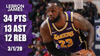 LeBron James records triple-double in Lakers vs. Pelicans | 2019-20 NBA Highlights