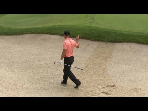 Paul Casey holes out from the greenside bunker at Safeway