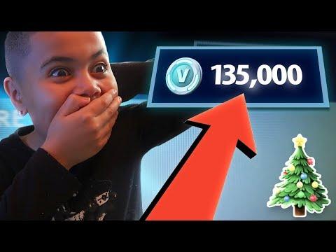 Kid gets 100,000 V bucks For Christmas! (He Freaked Out!!)