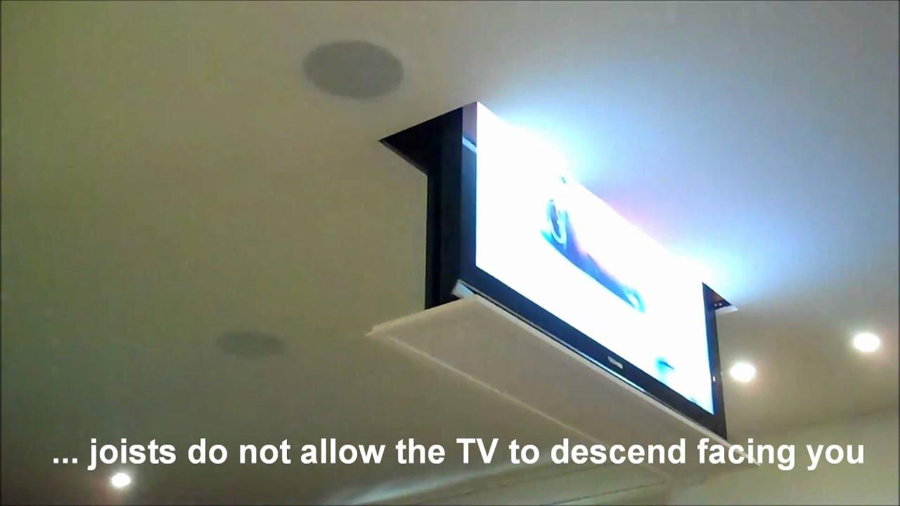 Drop Down Swivel Motorized Tv Lift Installation Youtube