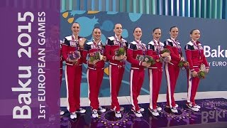 Russia win Gold in the Women's Team event | Synchronised Swimming | Baku 2015 European Games