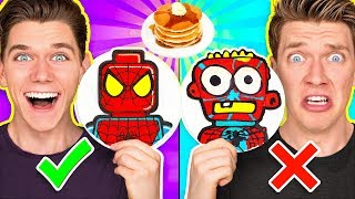 PANCAKE ART CHALLENGE Mystery Wheel 2 & Learn How To Make Diy Avengers & Aquaman Art