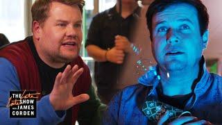 James Corden Turns a Starbucks Into a Movie Set w/ Taran Killam