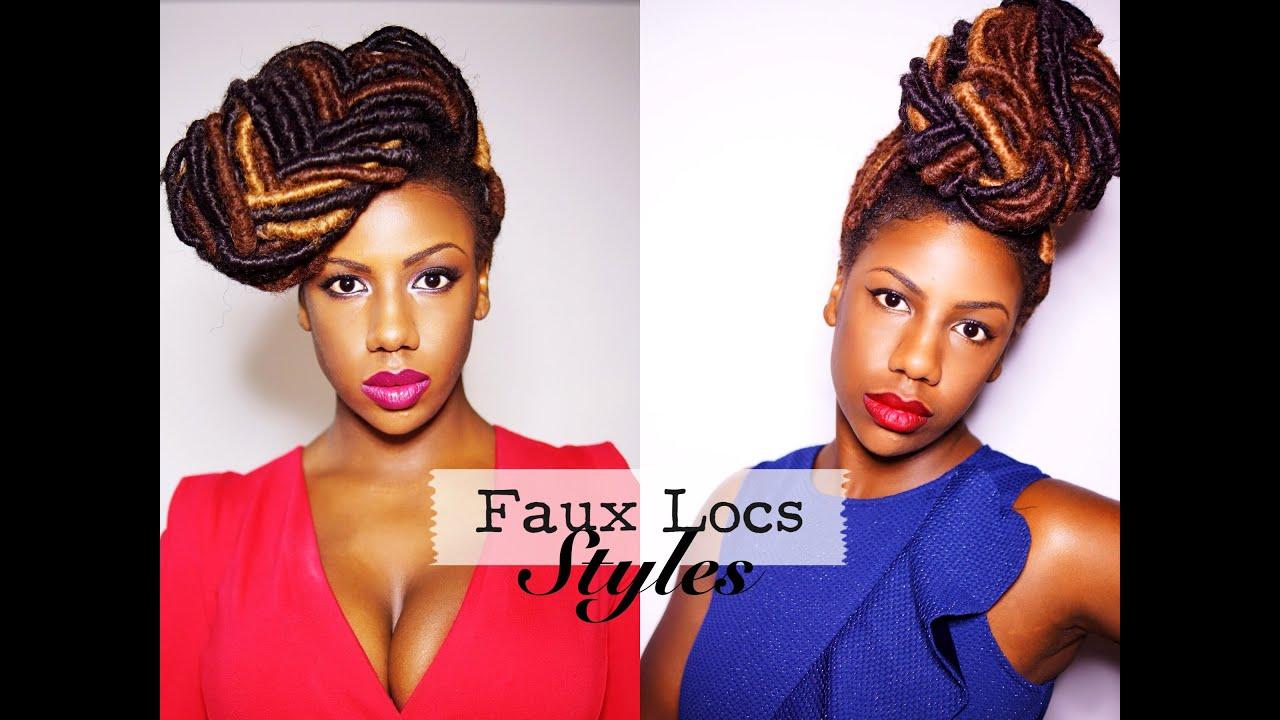 Faux Locs Styles Braided Bun And Fishtail Braid Updo