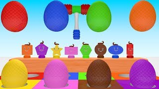 Learn Colors And Shapes With Surprise Eggs Toys - Learn Colors For Kids - Learn Shapes For Toddlers