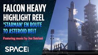 Asteroid Belt-Bound 'Starman'?: Falcon Heavy Highlights (Feat. Joe Satriani Music)