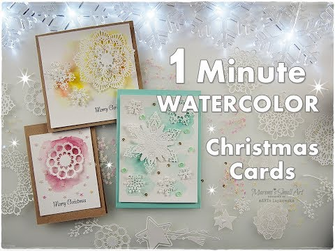 1 Minute Watercolor Die Cut Christmas Cards for Beginners ♡ Maremi's Small Art ♡