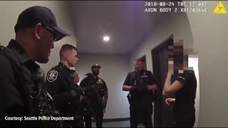 "Bodycam footage of Seattle Police responding to a ""swatting"" call"