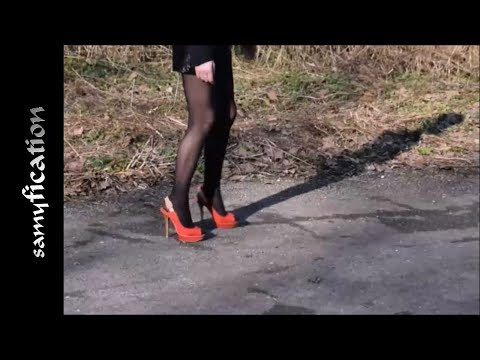 Sexy Nina care work in the forest in high heels & shiny body