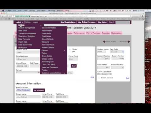 DanceWorks Online Webinar:  Settings Pages Overview