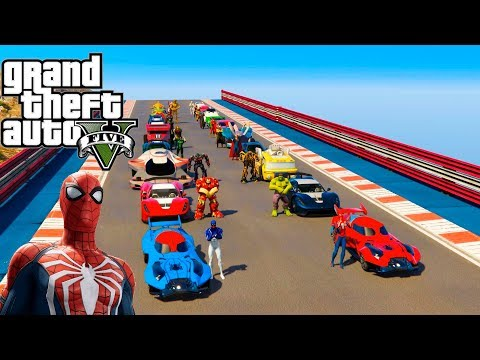 CARROS Hot Wheels com Super Heróis na Super Rampa GTA V Mods
