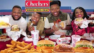Checkers Family Mukbang, Triple Cheeseburger, Chili Cheese Dog, Wings and more