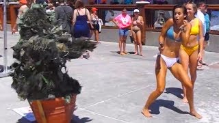 BUSHMAN SCARE PRANK AT THE BEACH