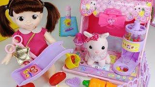Baby doll and pink rabbit house slide toys pet playground play 아기인형 공주토끼 슬라이드 하우스 애완동물 놀이터 장난감 - 토이몽