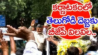 Grand welcome to Chandrababu at Bengaluru..