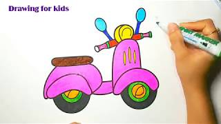 How to Draw Bicycle for Kids Coloring - Learning Colors With Bicycle and drawing for kids