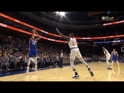 BEN SIMMONS JUST SPLASHED HIS FIRST REAL NBA 3! Sixers vs Knicks