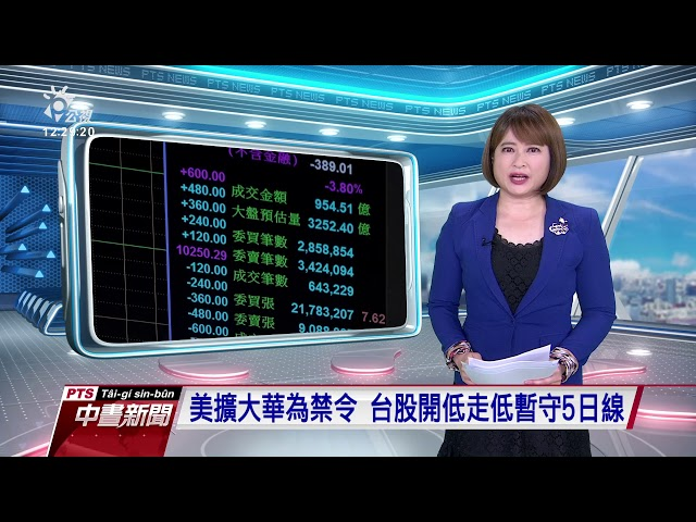 美擴大華為禁令 台股開低走低暫守5日線