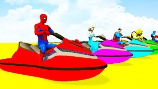 LEARN COLORS JETSKI w Cycle BIKES with Superheroes Cartoon 3D for Kids & Children Animation