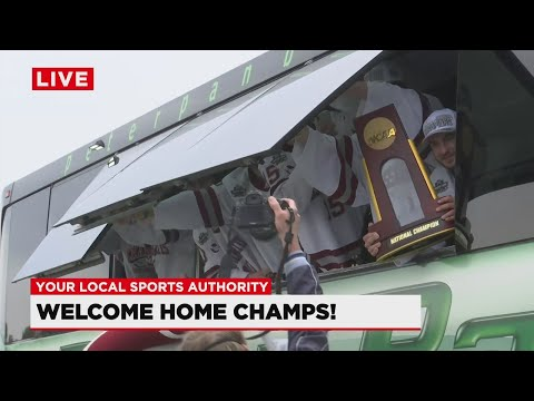 WATCH: UMass hockey returns home following championship win