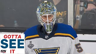 GOTTA SEE IT: Blues' Jordan Binnington Stands On His Head To Keep Bruins Out In First Period