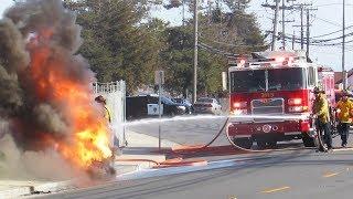 Firefighters Battle HUGE Sewer Blaze! Fire Trucks Responding, On Scene.