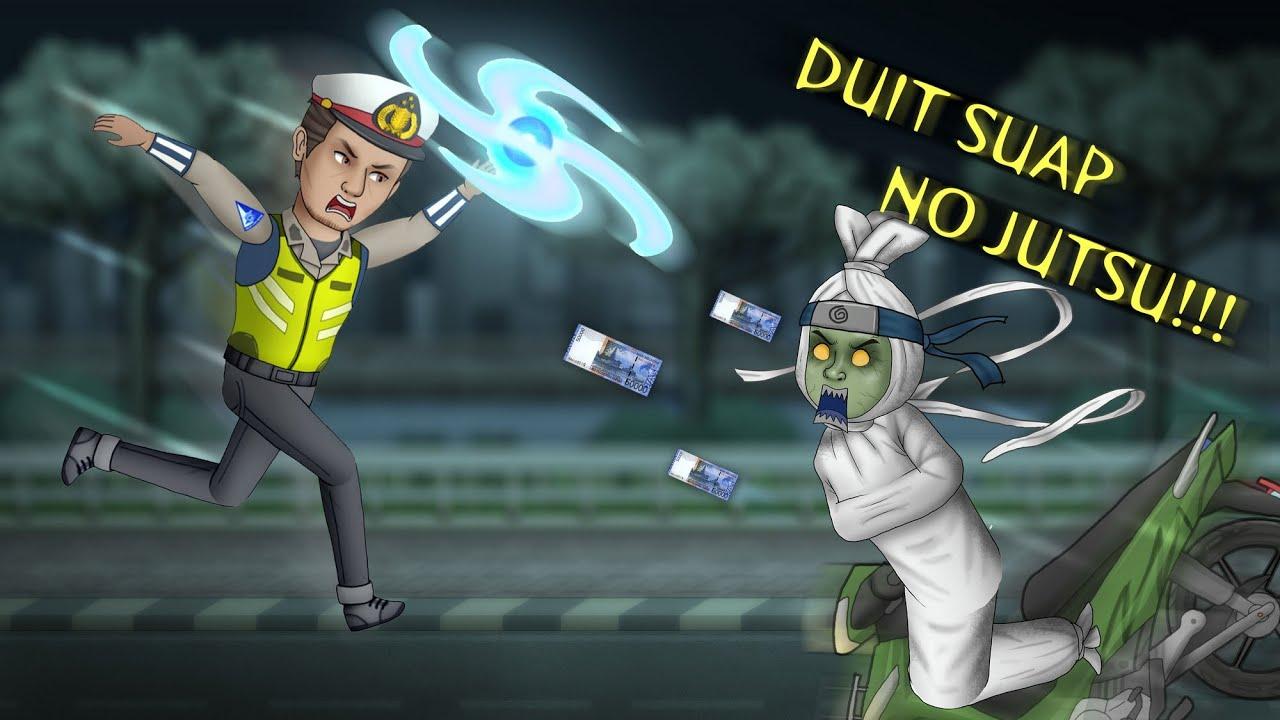 Ketika POLISI Tik Tok Bertemu POCONG Wibu HORORKOMEDI Kartun Lucu Kartun Hantu Animasi Horor