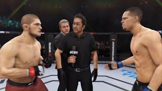 Khabib Nurmagomedov vs. Nate Diaz (EA sports UFC 3) - CPU vs. CPU - Crazy UFC 👊🤪