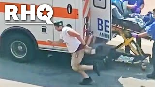 Man Running Away From Ambulance Perfectly Sums Up America