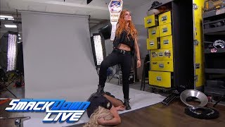 Becky Lynch attacks Charlotte Flair during a photoshoot: SmackDown LIVE, Sept. 25, 2018