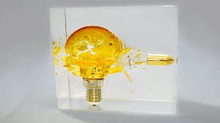 Bullet Through Electric Bulb- Slow Motion Epoxy Resin Art /Diorama